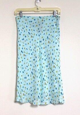 Damen 4 Blau Blumenmuster Gewoben Viskose Knielänge A-linie Perfekte Verarbeitung Ralph Lauren