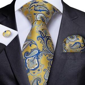 DiBanGu Mens Silk Tie Set Blue Paisley Floral Checks Necktie Hanky Cufflinks