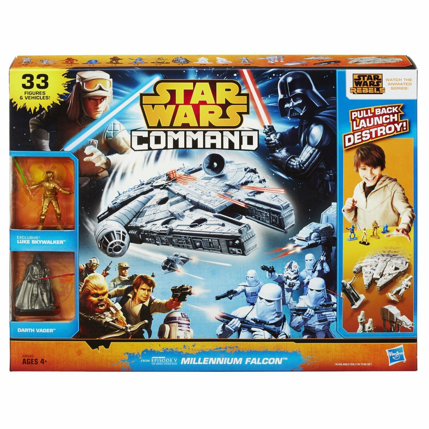 BRAND NEW   STAR WARS  Command Command Command Millennium Falcon Set Action Figure From Hasbgold 311e91