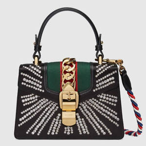Gucci Sylvie Mini Embellished Satin Top-Handle Satchel Bag UyKkYST61
