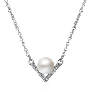 Fashion-Jewelry-925-Sterling-Silver-Black-Pearl-ZirconTriangle-Pendant-Necklace
