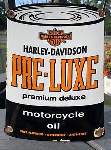 HARLEY-DAVIDSON-PRE-LUXE-porcelain-sign-motor-oil-motorcycle-can-vintage-dealer
