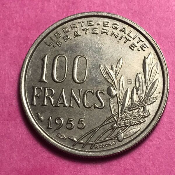 #678 - 100 Francs 1955 B Cochet Sup/spl - Facture Sang Nourrissant Et Esprit RéGulateur