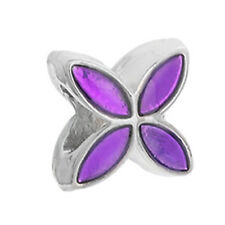 Clover Flower Metallic Purple Enamel Spacer Charm for European Bead Bracelets