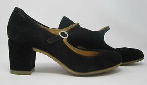 Clarks Originals size 6 (39) black suede court high heel shoes with straps