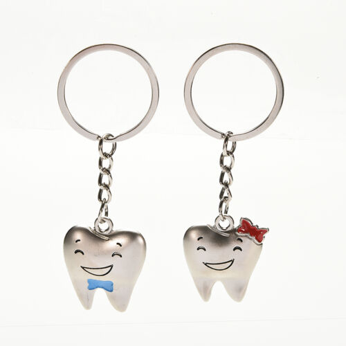 1Pair Tooth Couple Metal Keychain Keyring Gift For Lover Children Friend TSAU