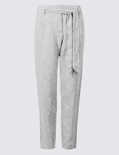 MARKS SPENCER M/&S PURE LINEN TEXTURED GREY PEG TROUSERS RRP £29.50 14 18 22 24