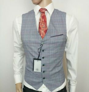 a2c5c4957 Ted Baker London Mens Waistcoat Grey Prince Wales Check Size 1 34R ...