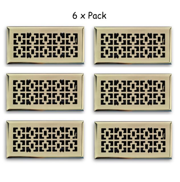 6 Pack 4x10 Polished Brass Decorative Floor Air Vent Covers Register Grate