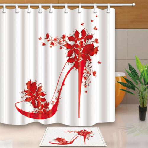 Fashion red high heels Shower Curtain set Bathroom Fabric /& 12hooks 71*71inches
