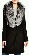 $1398 DIANE VON FURSTENBERG BLACK WOOL BASIC COAT OUTERWEAR WOMEN SZ 8