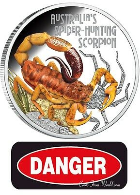 Tuvalu 2014  1$ Deadly /& Dangerous Spider-Hunting Scorpion 1 oz Silver Coin