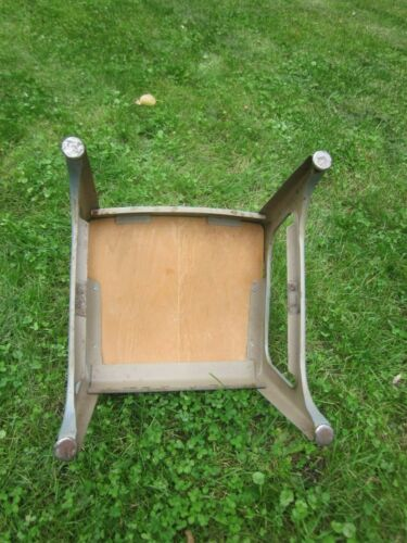 vintage Industrial Child School Chair wood with metal frame