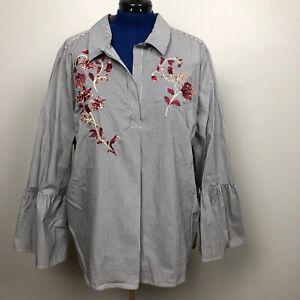 Jasmine-amp-Juliana-Women-039-s-Size-3X-Top-Floral-Embroidery-Bell-Sleeve-Shirt