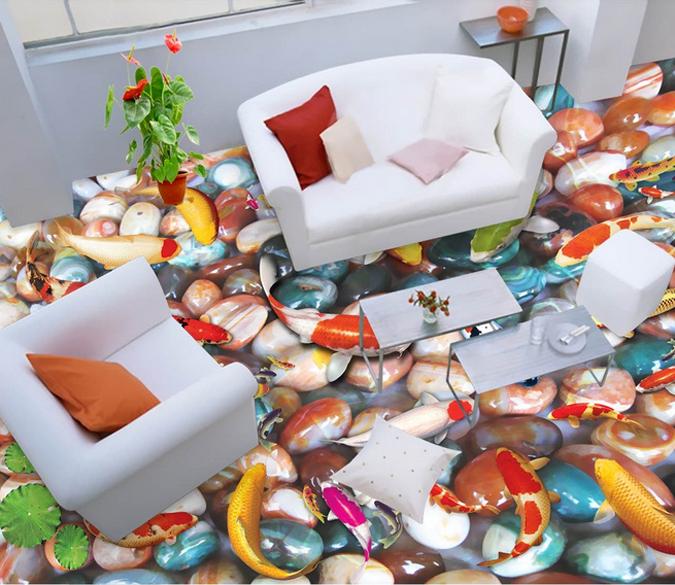 3D ColGoldt Stone Fish 72 Floor WallPaper Murals Wall Print Decal AJ WALLPAPER US