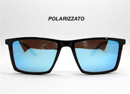 OCCHIALI DA SOLE UOMO stile rettangolare LENTE POLARIZZATA nero marrone blu