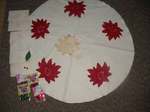 Vintage 1940's Poinsettia Christmas Tree Skirt Kit Felt Skirt Table Topper
