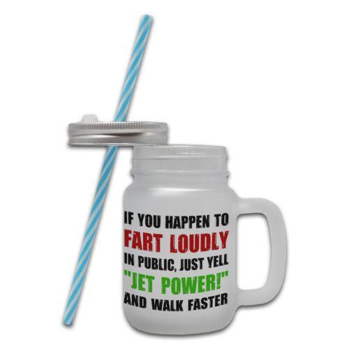Si vous arriver à Pet fort Drôle Nouveauté Verre Mason Jar Tasse avec paille