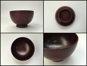 Japanese-Wooden-Bowl-Vintage-Signed-Lacquer-Ware-Hand-Made-Red-Black-Z028