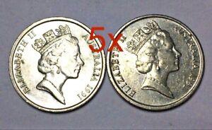 5x-1991-Australian-10-Cent-Coins-Low-Mintage-FREE-Postage