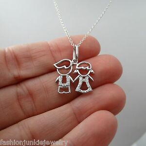 Details about son daughter two kids necklace 925 sterling silver pendant family twins new image is loading son daughter two kids necklace 925 sterling silver aloadofball Images
