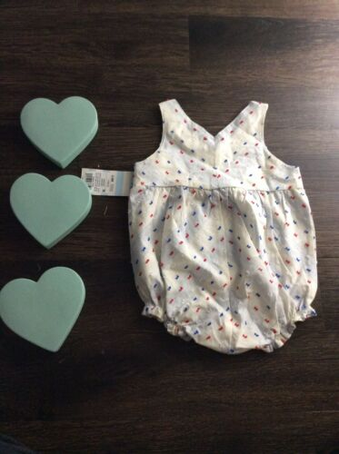 Cat /& Jack Baby Girl Bubble Romper Blue Red White 3-6 New Nwt