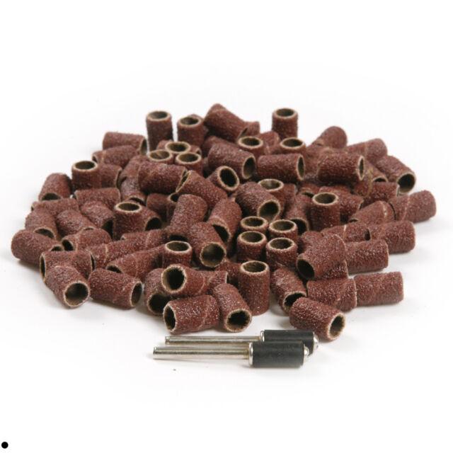 100Pcs 6.35mm Sanding Bands Sleeves & 2 Mandrels For  Rotary Tools Kit