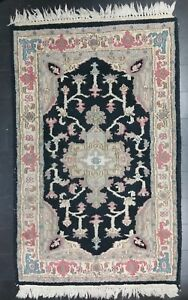 Vintage-India-Asiatico-Lana-Tapete-Corredor-Mandala-Mano-Anudado