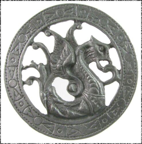 Large Openwork Metal Dragon Button w// Interesting Border