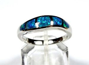 Blue Fire Opal Inlay 925 Sterling Silver Men's Jewelry & Watches Woman Band Ring size 6-12 Fine Jewelry