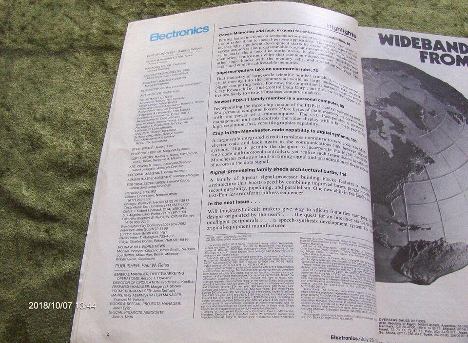 ELECTRONICS MAGAZINE - JULY 28, 1982 - Sjældent, Magasin