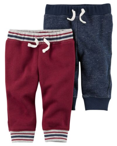 NEW Carter/'s 2 Pack Blue /& Red Burgundy Pants NWT 6m 9m 12m 24m Soft Knit Boys