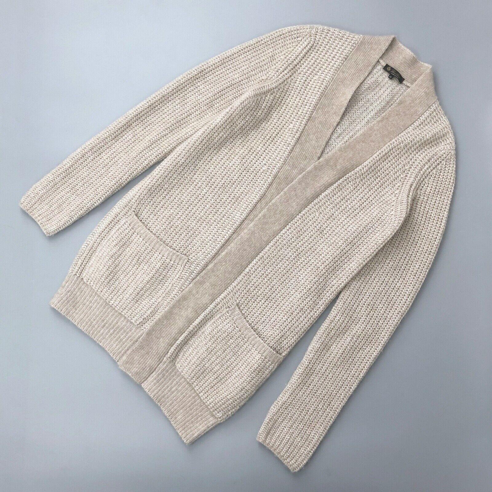 LGold Piana damen Cream CASHMERE Silk Knit OverGrößed Long Cardigan Sweater Größe S
