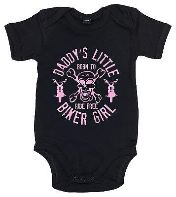 """Daddy's Little Biker Girl"" Bodysuit Baby grow Anarchy Motorbike Skull Baby Vest"