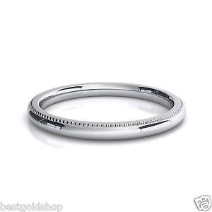 2mm comfort silk fit milgrain wedding band ring genuine