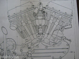 2 harley davidson panhead engine blueprint transmision flh v2 v twin rh ebay com Ironhead Engine Diagram Engine Exploded View