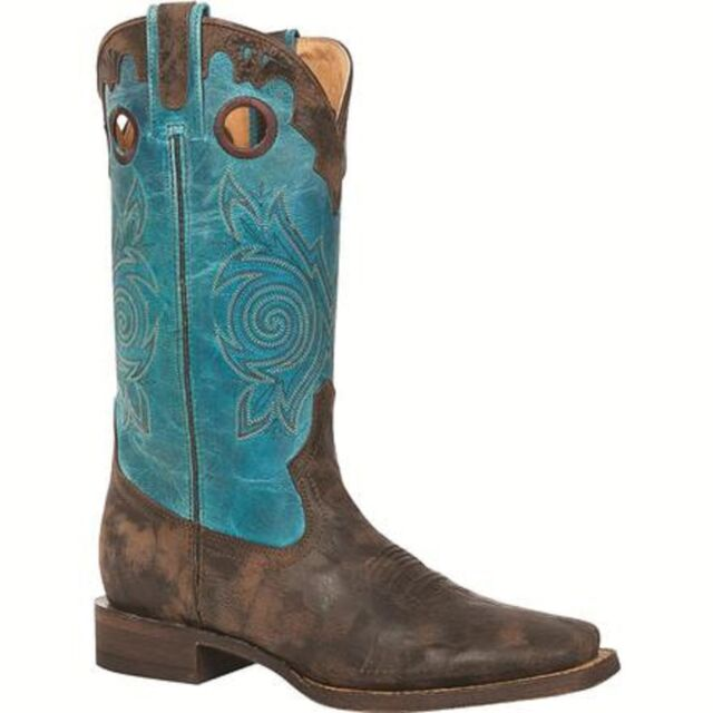 ROCKY Women's Brown Hand Hewn Square Toe Blue Turquoise Western Boots 5232 NIB