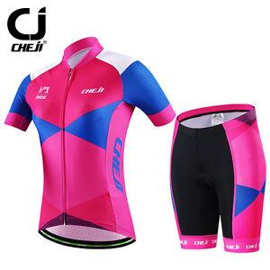 Details about CHEJI Blade Women s Cycling Jersey and Shorts Kit Bike  Clothing Short Set Pink 205796203
