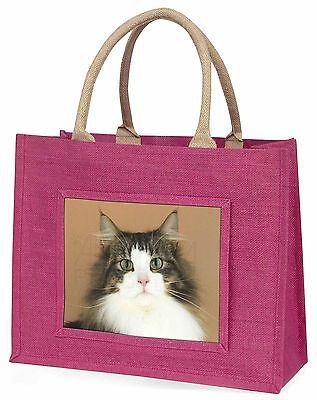 Tabby und weiß Cat Große Rosa Einkaufstasche Weihnachten Geschenkidee, AC-49BLP