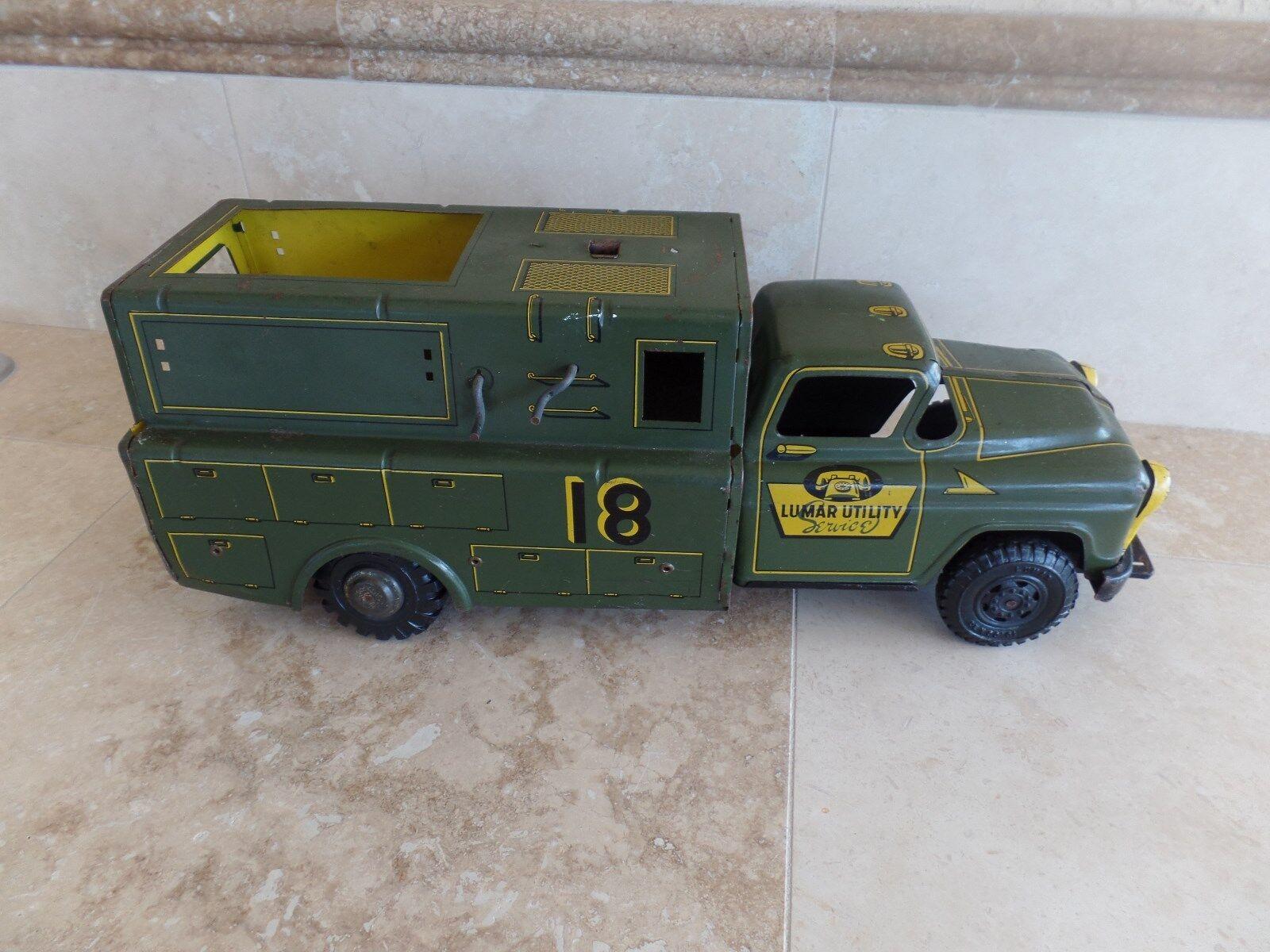 Vintage Marx Lumar utilidad de teléfono de servicio de reparación Truck Acero Estampado