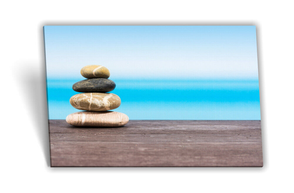 Leinwand-Bild Keilrahmen-Bild SPA-Wellness Steine Aussicht Meer Holz Blau Grau