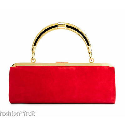 Balmain x H&M Red Suede Leather Handbag Clutch Purse Removable Handle Gift
