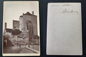 France-Moulins-vieux-chateau-Vintage-albumen-print-carte-cabinet-Tirage-al