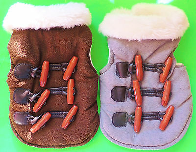 Warm Winter Dog Coat XX-Small Toy Petite Sleeveless Plush Lining Brown or Gray