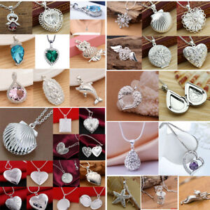 Fashion-925-Silver-Crystal-Pendant-Necklace-Chain-Wedding-Party-Prom-Women-Gift
