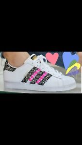 Détails sur Chaussures Adidas Superstar avec Glitter Gris et Clous