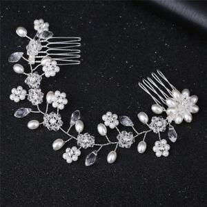 Women-039-s-Hairband-Imitation-Pearl-Flower-Elegant-Hair-Comb-Accessory-Jewe-xh