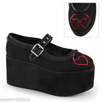 Demonia Click-02-1 Black Hearts Embroidery Platform Buckle Mary Jane Shoes