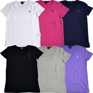Polo Ralph Lauren Womens T-shirt Jersey Tee V Neck Top T Shirt New ... abf459a90