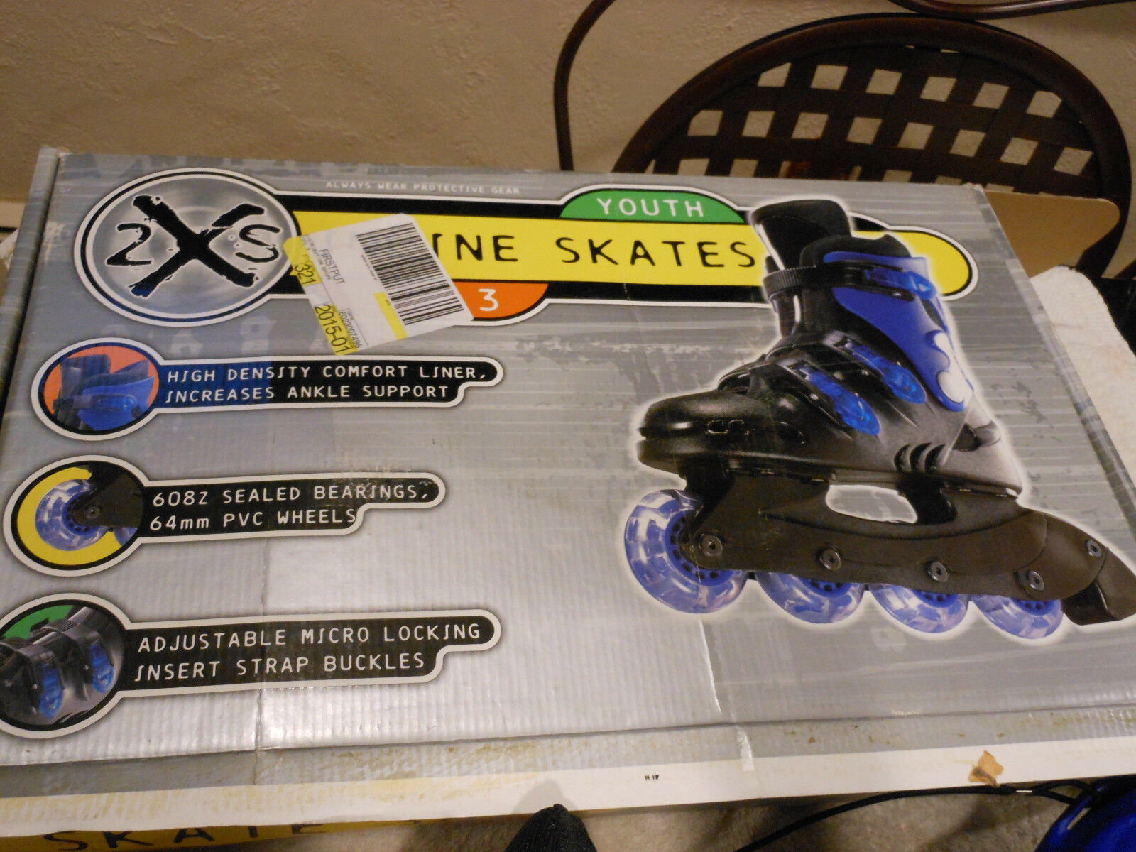 2XS ROLLERBLADE INLINE SCATES YOUTH SIZE 3  NIB